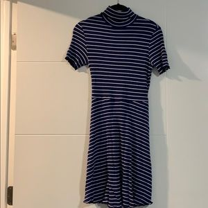 Blue and white striped jersey dress